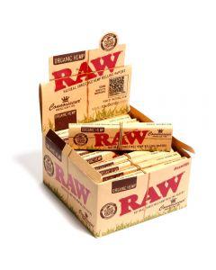 Caixa de Seda RAW Connoisseur Organic Hemp King Size Slim com Piteiras